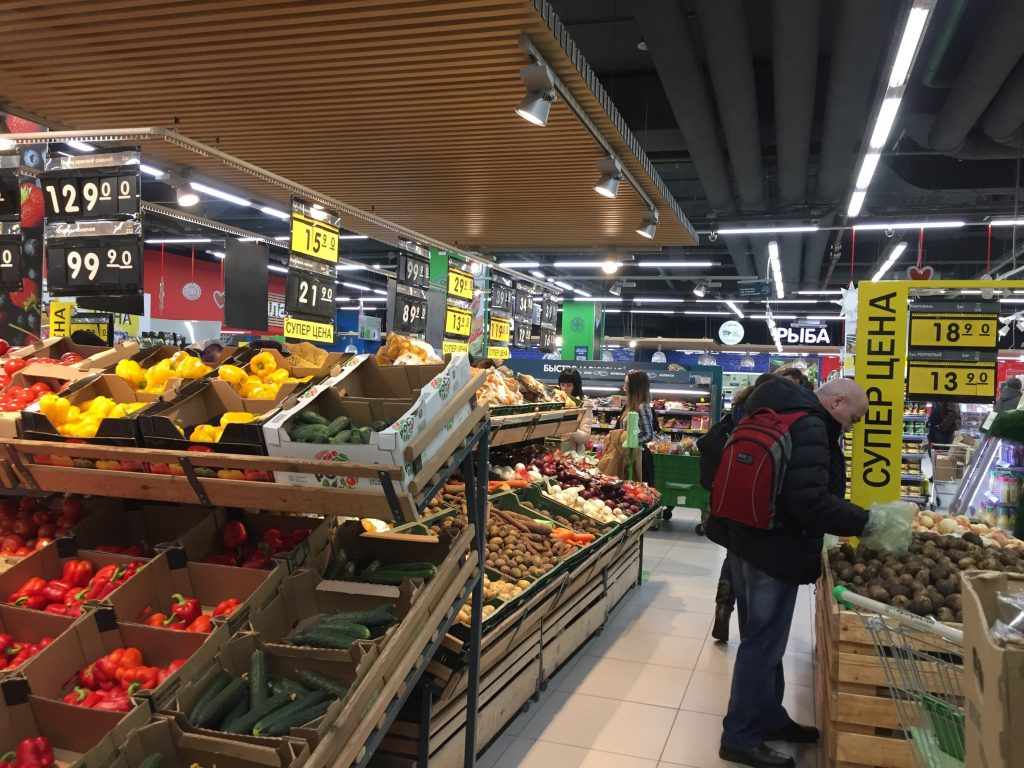 モスクワのスーパー、野菜・果物
