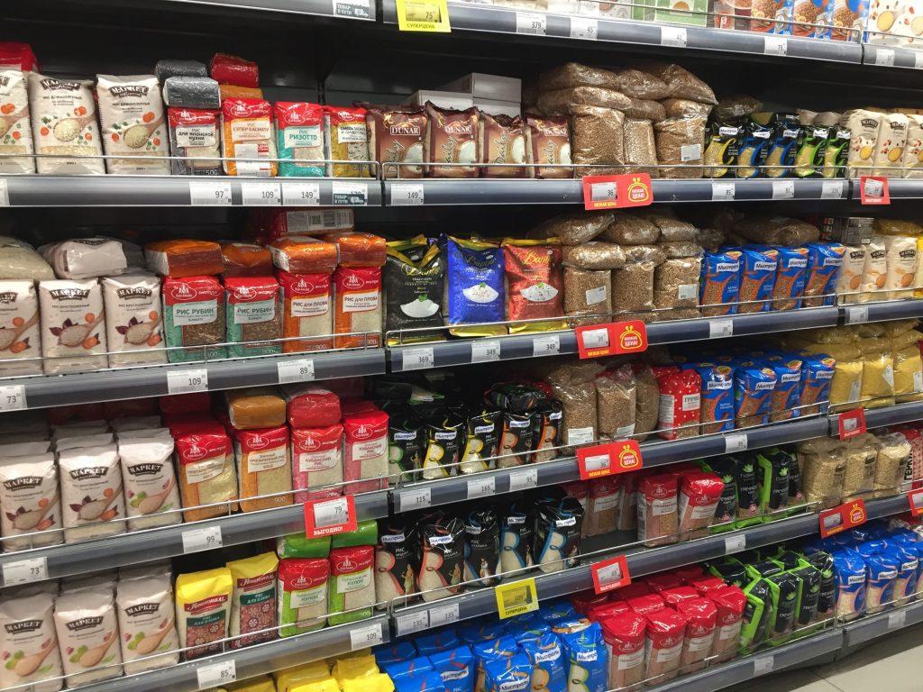 モスクワのスーパーの米
