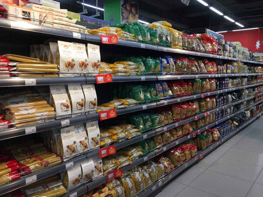 モスクワのスーパーのパスタ