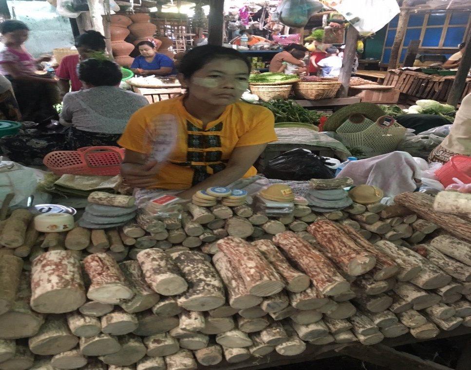 バガンのニャウンウーマーケットで売られているミャンマー名物のタナカ