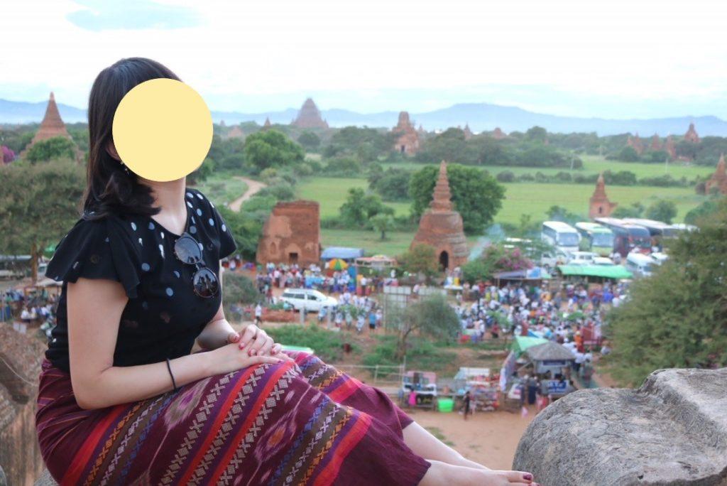 ミャンマーのバガンのシュエサンドー・パゴダ