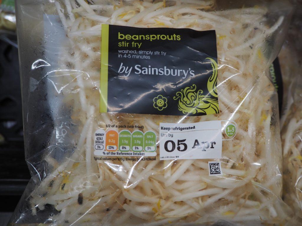 ロンドンのスーパー、セインズベリーズ Sainsbury'sのもやし