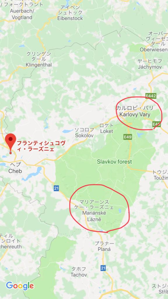 ボヘミアの温泉三角地帯の地図