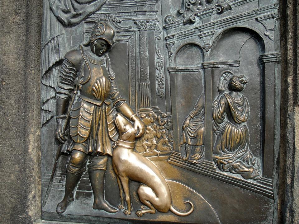 プラハのカレル橋の聖ヤン・ネポムツキー像の台座のレリーフ