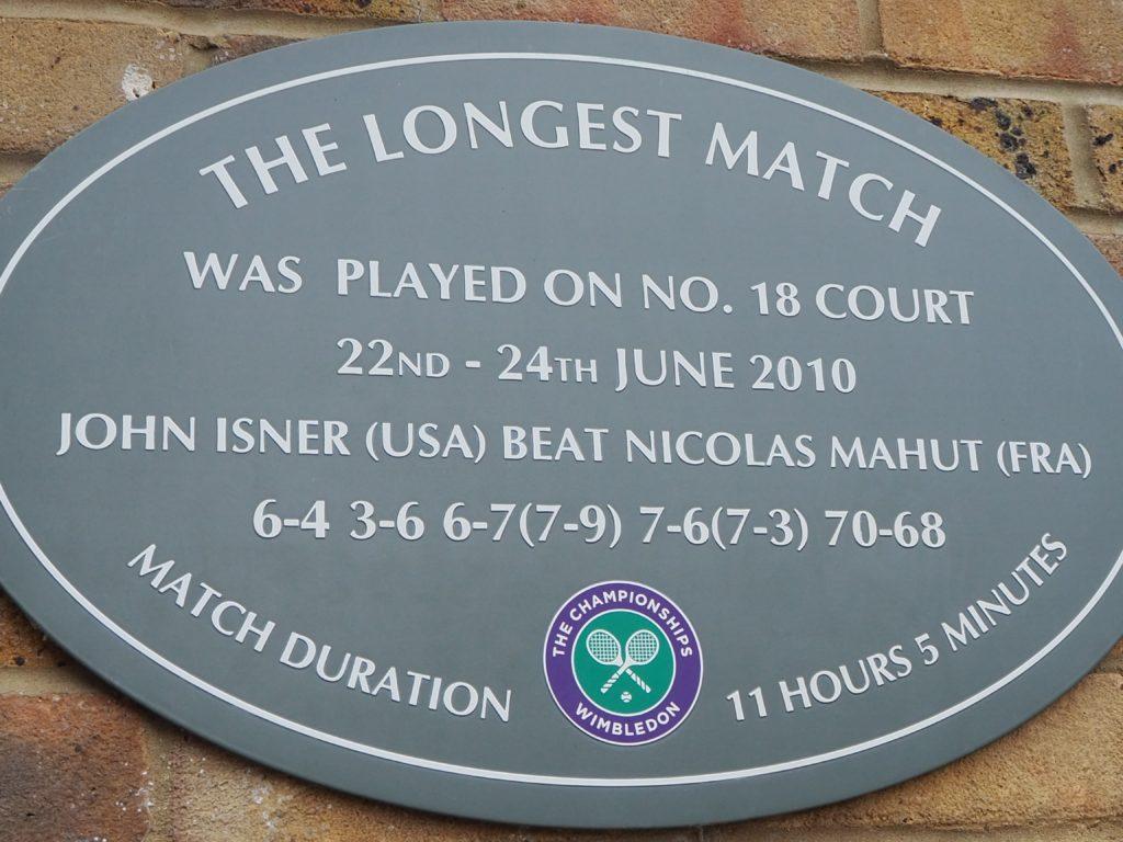 ウィンブルドン(Wimbledon)の18番コートのスコア看板