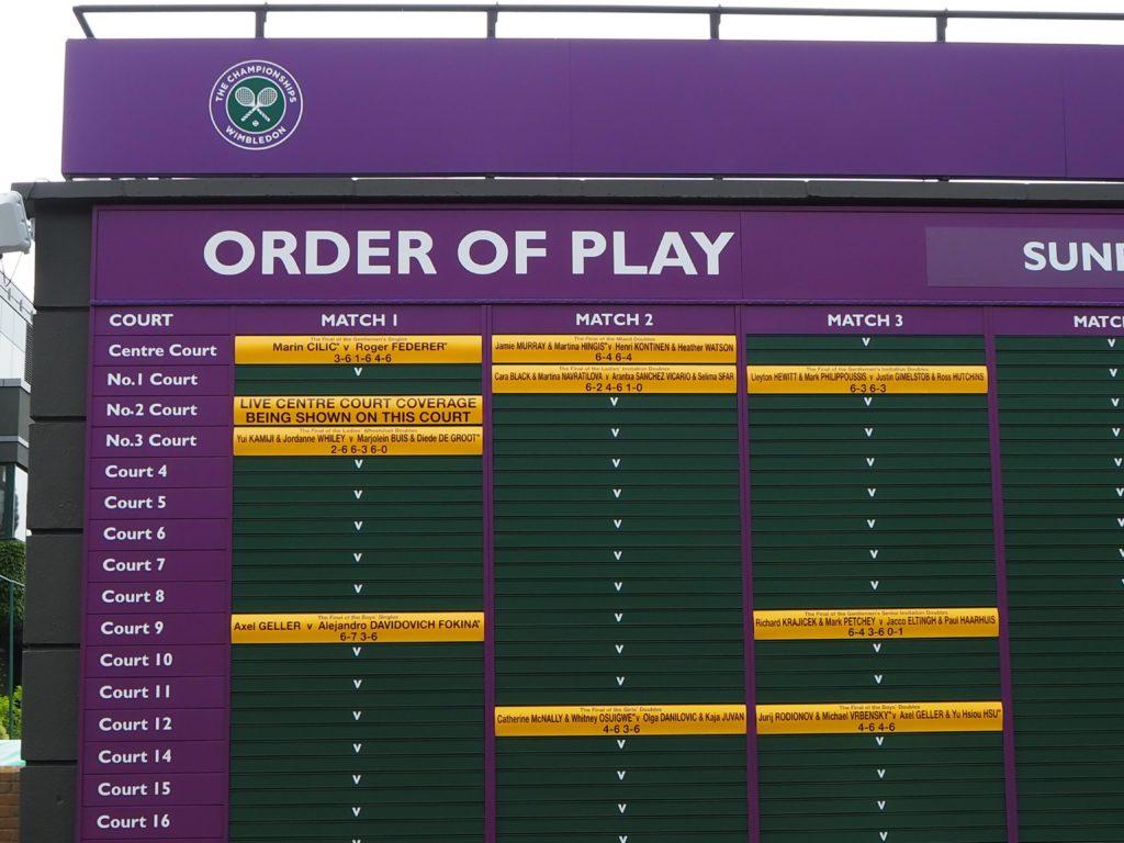 ウィンブルドン(Wimbledon)の試合の取組みボード