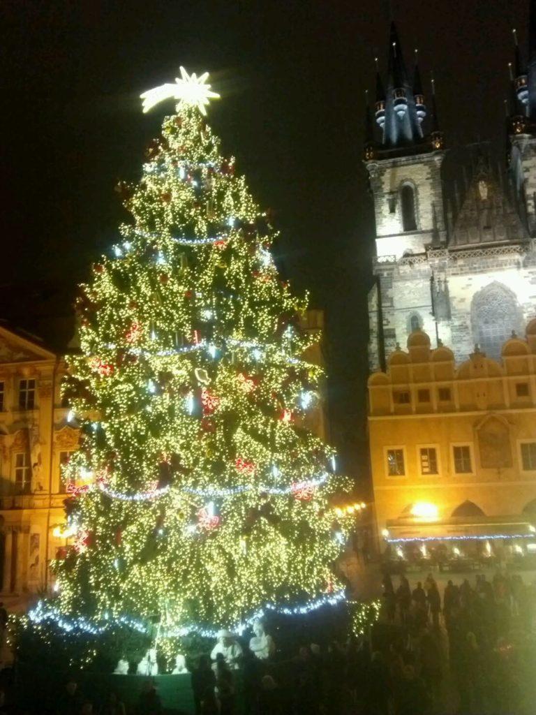 プラハの旧市街広場のクリスマスマーケットにある、ライトアップされた2014年のクリスマスツリー