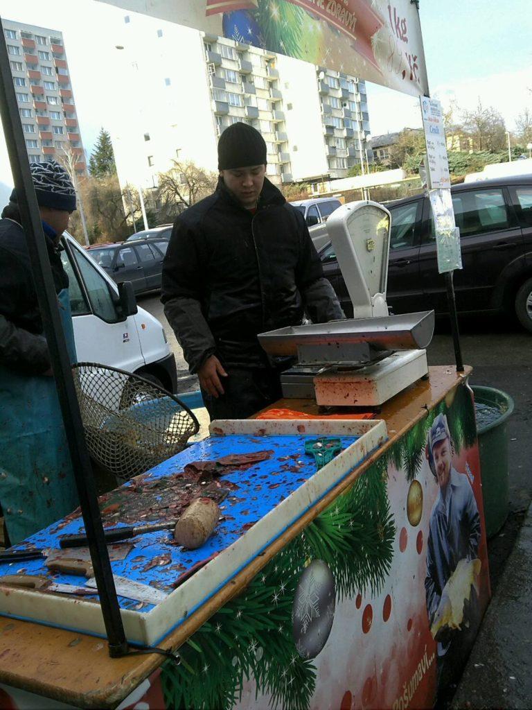 プラハでクリスマスシーズンに売られる鯉が内臓処理される様子