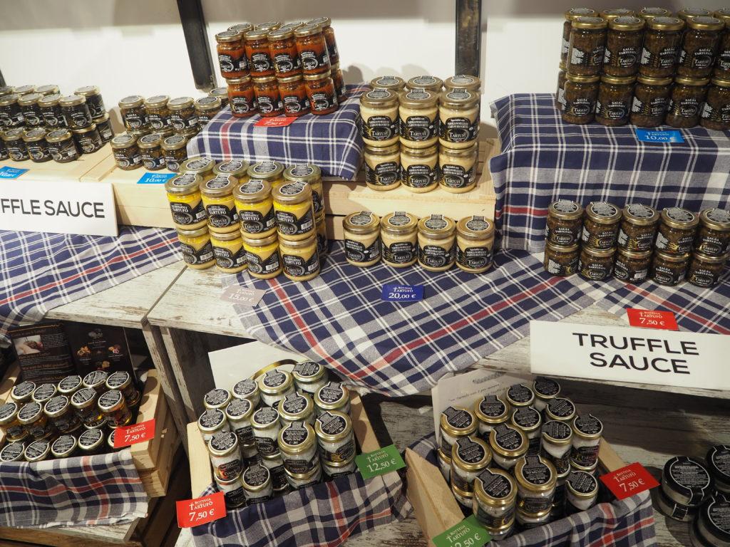ヴェネツィアのトリュフ専門店、La Bottega del Tartufoで販売されているトリュフソースやトリュフ塩