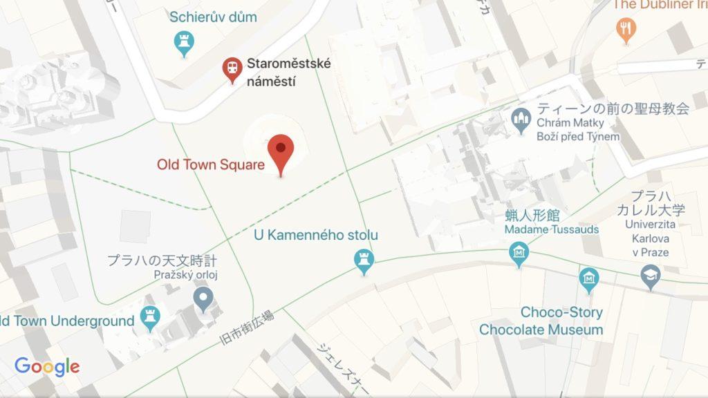 プラハのクリスマスマーケットが開かれる旧市街広場を示した地図