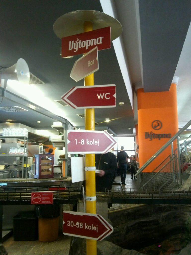 プラハの鉄道レストラン、Vytopna店内のトイレなどのサイン