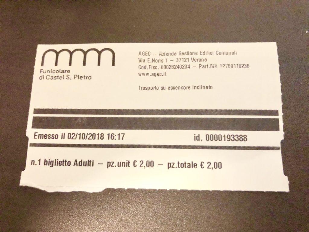 ヴェローナのサン・ピエトロ城(Castel San Pietro)のケーブルカーのチケット