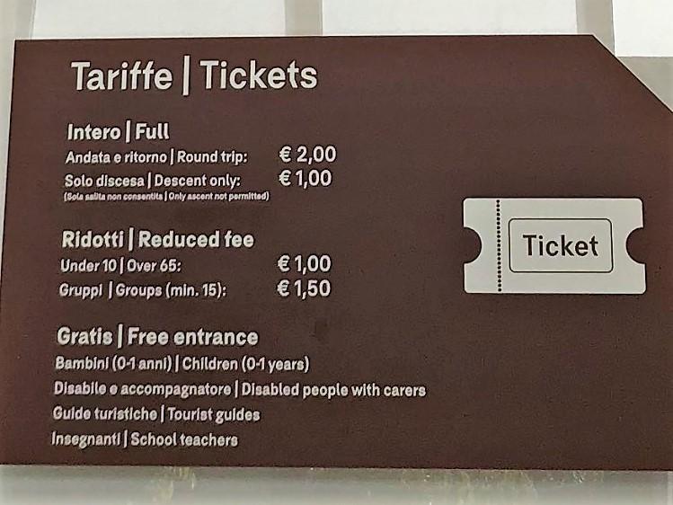ヴェローナのサン・ピエトロ城(Castel San Pietro)のケーブルカーの料金表