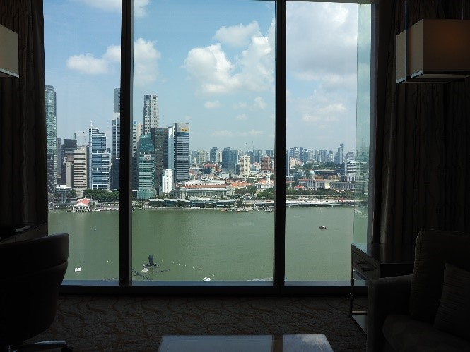 シンガポールのマリーナベイサンズの部屋から見えるマーライオンパーク