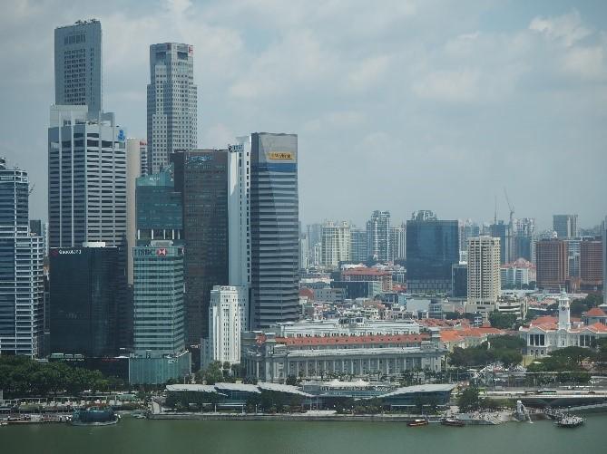 シンガポールのマリーナベイサンズの部屋から見えるマーライオン