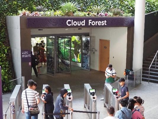 シンガポールのガーデンズバイザベイのクラウドフォレスト入口