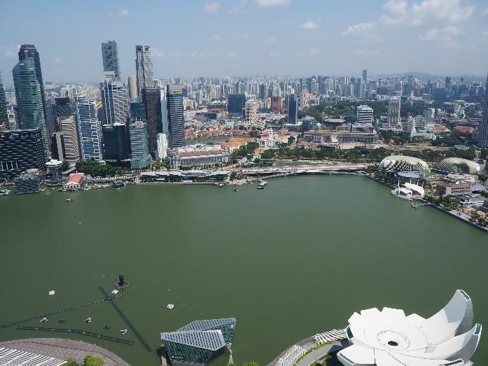 シンガポールのサンズ・スカイパーク展望デッキ(sands skypark observation deck)から見える、マーライオンパーク