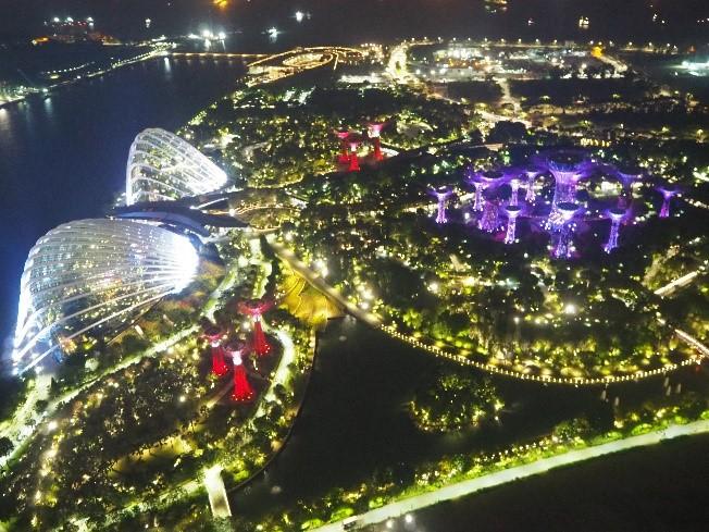 シンガポールのサンズ・スカイパーク展望デッキ(sands skypark observation deck)からの夜景