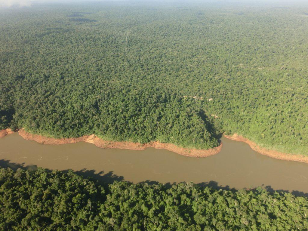 ヘリコプターから見たイグアス川とその周辺に広がる森